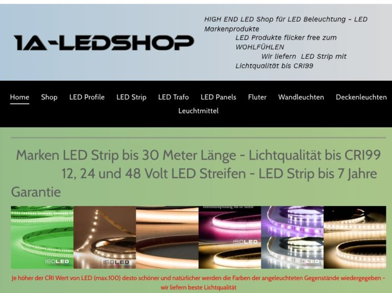 1A Ledshop LED Strip LED Aluprofile bis 6m LED Panel Deckenleuchten 768x573